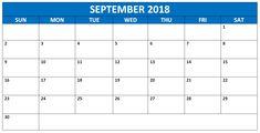64 Best September Calendar 2018 Images On Pinterest September