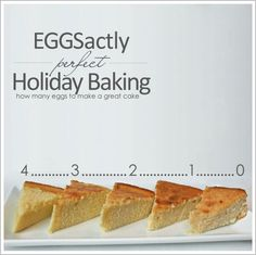 """Eggs-actly Perfect Holiday Baking"" -- Click through for a good comparison chart of how different numbers of eggs can affect the characteristics of a cake."