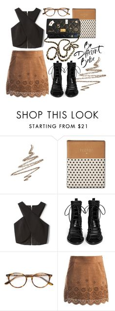 """""""quick movie"""" by esperanz-e ❤ liked on Polyvore featuring Anastasia Beverly Hills, FOSSIL, Nicholas, Ann Demeulemeester, Paul & Joe, Sans Souci and Chanel"""
