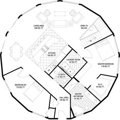 2 BR bath - - could be 2 baths if ldy room was smaller from Deltec Homes- Floorplan Gallery Round House Plans, Small House Plans, House Floor Plans, Yurt Home, Earth Bag Homes, Silo House, Geodesic Dome Homes, Natural Building, Green Building