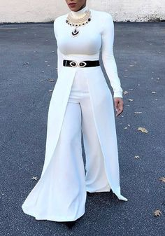 Women's One Piece Jumpsuit with Attached Maxi Skirt - White Winter Mode Outfits, Winter Fashion Outfits, Spring Outfits, Rompers Women, Jumpsuits For Women, Curvy Work Outfit, Long Jumpsuits, One Piece For Women, Overall