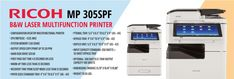 Ricoh MP 305SPF B&W Laser Multifunction Printer is a multifunction printing device that lets you print, scan, and fax.
