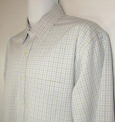 Brooks Brothers Dress Shirt Plaid 100% Cotton - Slim Fit Non Iron 17 1/2 X 35 #BrooksBrothers