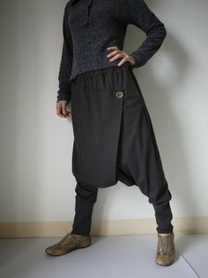 Women Men Pants - Drop Crotch Dark Charcoal Stretch Cotton Pants With 2 Side Pockets And Elastic Waist Band