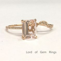 Emerald Cut Morganite Engagement Ring Sets Pave Diamond Wedding 14K Rose Gold 8x10mm Curved Band - Lord of Gem Rings - 1