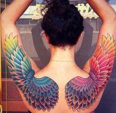 Colorful Angel Wings Tattoo   #Tattoo, #Tattooed, #Tattoos