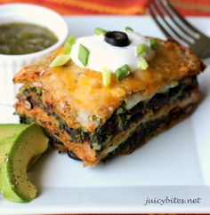 Mexican lasagna. Vegetarian dinner.