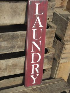 LAUNDRY - Laundry Room Sign - Distressed Wooden Sign, Home decor. $18.00, via Etsy.