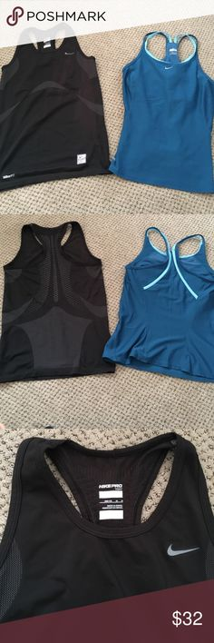 2 Nike tank tops NWOT! Lot of 2 tank tops. Blue Nike Fot Dry tank with strappy straps size small. Black Nike PRO Tight tank top size medium but it's a compression tank. Both fit like a size small. Nike Tops Tank Tops
