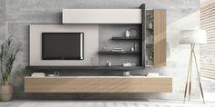 Premium Wohnwand Netro 10 by ambiato_de / Soft Close / Lack / Echtholz uvm. Tv Cabinet Design Modern, Modern Tv Unit Designs, Modern Tv Wall Units, Living Room Tv Unit Designs, Tv Wall Design, Cupboard Design, Tv Unit Decor, Tv Wall Decor, Muebles Rack Tv