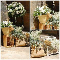 Decoración floral para una boda rústica. DECORACIÓN FLORAL BODA. wedding.