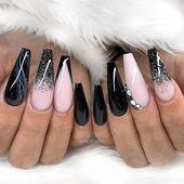 Pin on Nail designs Pin on Nail designs Glam Nails, Dope Nails, Fun Nails, Black Ombre Nails, Pink Acrylic Nails, Ongles Bling Bling, Bling Nails, Gorgeous Nails, Pretty Nails