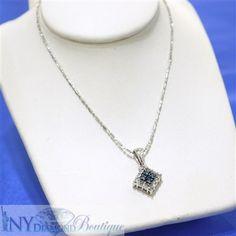 14k White Gold Diamond Shaped Pendant w/ Blue Diamonds 0.25 ct TW