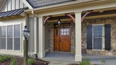 front porch bump outs | Learn More Contact Us House Columns, Front Porch Columns, Front Entrances, Custom Built Homes, Living Room Remodel, Home Repairs, Bay Window, House Front, Exterior Colors