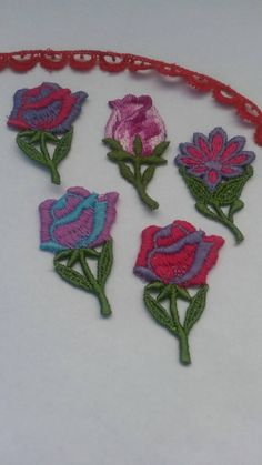 5 Pieces mix large rose flower with petal applique embroidery sew on flower patch