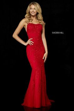 Sherri Hill 52338 is magical! Sherri Hill uses exquisite lace with an open back fitted bodice. Sherri Hill Red Dress, Sherri Hill Prom Dresses, Prom Dress Stores, Pageant Dresses, Homecoming Dresses, Dress Prom, Red Lace Prom Dress, Dress Formal, Prom Gowns