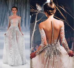 New Arrival Runway Prom Dress, Long Sleeve Prom Dress, Lace Prom Dress, Sexy See-through Prom Gowns, Evening Dress