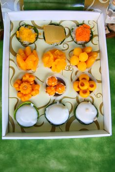 Thai native ancient dessert in modern carton