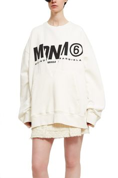 MM6 Maison Margiela, Basic Layered Logo Sweatshirt Cut from medium weight cotton, this oversized sweatshirt is a 2-in-1 style, featuring a layered construction that is fully detachable. The outer shell is an oversized plunge neck sweatshirt, while the inner layer is a sleeveless top with self-tie closures along open sides., 100% cotton, Made in Italy