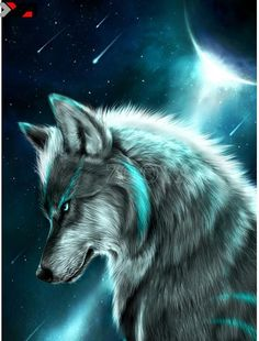 I Started Drawing Realistic Fantasic Style On 2011 Autumn Finished September The Wolf Is My Fursona Between Planet