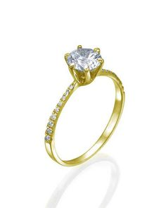 Yellow Gold Thin 6-Prong Pave Set Round Diamond Solitaire Engagement Ring