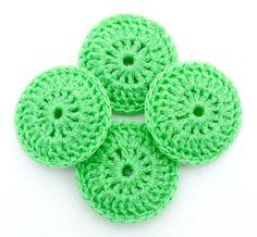 Lime Green Dish Scrubbies  Set of 4  Crochet Nylon by ArtistBeeBee, $8.00