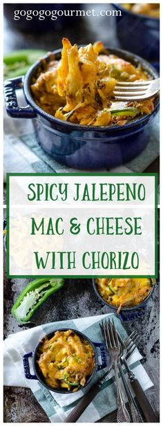 This mac and cheese packs a spicy punch- sure to be loved by every jalepeno lover in your life! One of the best I've ever had. Spicy Jalepeno Mac and Cheese with Chorizo and Hot Sausage | Go Go Go Gourmet @gogogogourmet