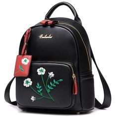 Cheap Fresh Flowers Embroidery PU Girl's College Student Backpack For Big Sale!Fresh Flowers Embroidery PU Girl's College Student Backpack