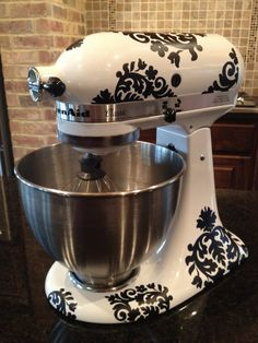 Kitchen Mixer Vinyl DecalsDamask by thewordnerdstudio on Etsy, $17.50