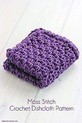 Moss Stitch Crochet Dishcloth Pattern