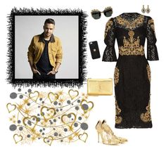 """~ Liam Payne ~ {Black & Gold}"" by stylistic-1 ❤ liked on Polyvore featuring Oscar de la Renta, Dolce&Gabbana, Yves Saint Laurent, Todd Reed and Hervé Léger"