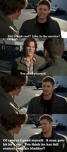 Supernatural - my biggest qualm with this is the grammar.  People have taken to leaving out the participial in this sentence & it drives me a bit nuts! Best way to determine participial use/placement is would you say 'you peed bed'? No, you would say you peed on (or in) the bed; you peed on yourself...
