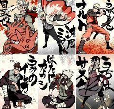 Jiraiya, Minato, Naruto, Iruka, Kakashi and Sasuke