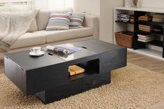 Furniture of America Arka Glass Insert Black Storage Coffee table