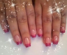 UV Gel builder pink glitter tips