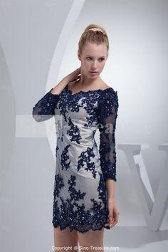 Dark Navy Beading Lace Soft V-neck Short Evening Dress 2013