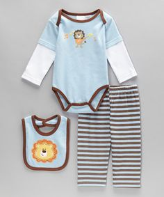 This sweet set of baby basics has it all. Boasting soft fabric and soothing colors, this fancifully adorned ensemble is ready to explore, snuggle and smile the day away!