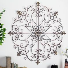 Fleur De Lis Iron Wall Art French Country Medallion Metal Vintage Style for sale online Outdoor Metal Wall Decor, Patio Wall Decor, Wall Decor Set, Farmhouse Wall Decor, Country Decor, Outdoor Decor, Cross Wall Decor, Medallion Wall Decor, Outside House Decor