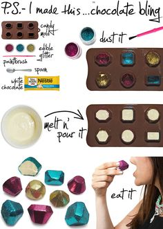To create:  dust candy mold with different shades of edible glitter, using a clean paint brush. It magically sticks to all...
