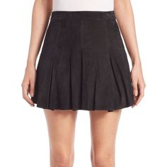 Alice + Olivia Lee Suede Mini Skirt ($674) ❤ liked on Polyvore featuring skirts, mini skirts, apparel & accessories, box pleated long skirt, short long skirts, suede leather skirt, short skirts and lined skirt