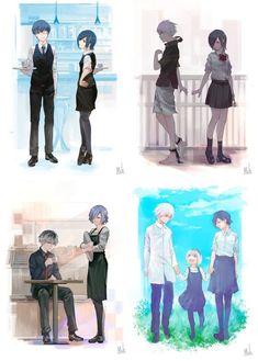 Kaneki Ken y Kirishima Touka Manga Tokyo Ghoul, Ken Kaneki Tokyo Ghoul, M Anime, Anime Love, Touka Kaneki, Tokyo Ghoul Pictures, Tamako Love Story, Tokyo Ghoul Wallpapers, Happy End