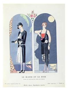Day and Night, Plate 47 from 'La Gazette Du Bon Ton' Depicting Day and Evening Dresses, 1924-25 Giclee Print by Georges Barbier at Art.com