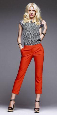 loving the orange cropped pants. EXPRESS #takemetoNYC
