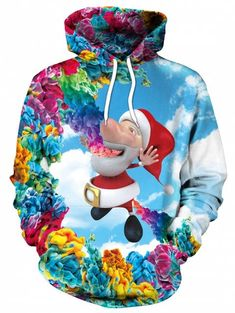 59ec64aa4a4 Christmas Santa Print Kangaroo Pocket Hoodie - multicolor L Fancy Dress  Ball