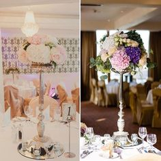 Tall silver floral stands styled two different ways 😍 What a difference the colours can make to creating beautiful custom centrepieces Wedding Venue Decorations, Wedding Centerpieces, Wedding Venues, Table Decorations, Irish Wedding, Centrepieces, Floral Arrangements, Wedding Flowers, Colours