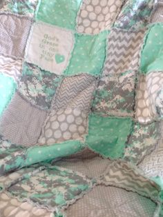 Unisex Quilt, Mint Green Baby Quilt, Camo Baby, Homemade Baby Quilt, Crib Bedding, Crib Blanket, Handmade Baby Quilt, Rag Quilt, Camouflage by RagQuiltsnPillowsUSA on Etsy