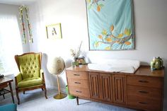 Love this nursery - bedding set is so cute and love the mid-century modern looking furniture