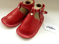Red leather baby shoe with buckle and rivet by chickpeakid on Etsy, $49.00