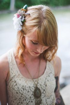boho inspired hairpiece + necklace // photo by Colagrossi Studio, flowers by Orchid and Willow, view more: http://ruffledblog.com/riverside-bohemian-wedding-shoot/