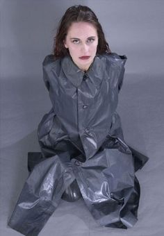 Pvc Raincoat, Plastic Raincoat, Girls Wear, Women Wear, Rubber Raincoats, Satin Skirt, Rain Wear, Girls In Love, Black Rubber